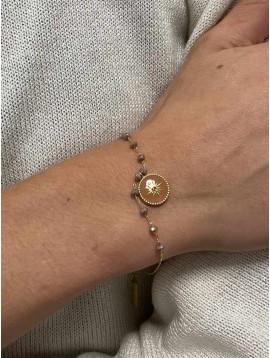 Bracelet Acier - Médaillon centre strass sur chaine perles à facettes