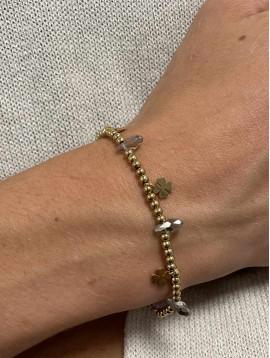 Bracelet Acier - Perles et petits pendentifs trèfles sur chaine fine