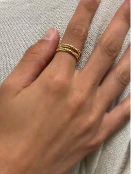 Bague Acier réglable - Multi-anneaux entrelacés avec gravures