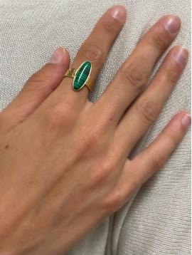 Bague Acier réglable - Ovale fin en résine sur anneau effet griffé