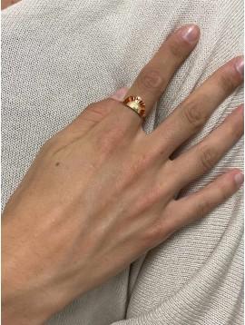Bague Acier réglable - Demi soleil gravé et coloré sur anneau fin