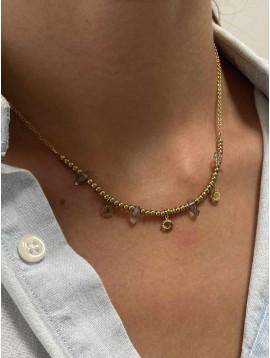 Collier Acier - Perles et petits pendentifs soleils sur chaine fine