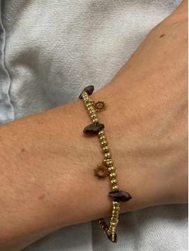 Bracelet Acier - Perles et petits pendentifs soleils sur chaine fine