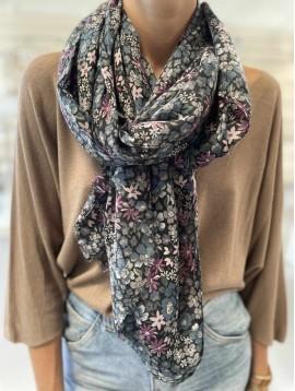 Echarpe motif champ de fleurs