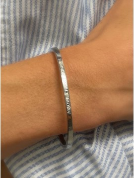 """Stainless Steel Bracelet - Thin bangle with """"Amour Chance Bonheur"""" inscription."""