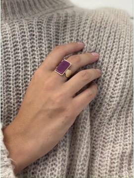 Bague Acier réglable - Rectangle en résine colorée monté sur anneau