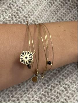 Bracelet Acier - Multirangs jonc fins avec pendentifs perles