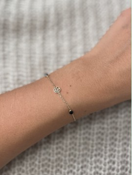 Bracelet Acier - Petit arbre de vie sur chaine fine et perles