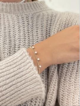 Bracelet Acier - Pendentifs perles nacrées sur chaine