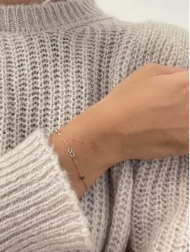 Bracelet Acier - Petit pendentif infini sur chaine fine et perles