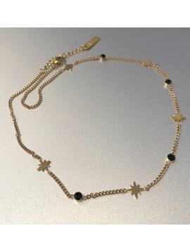 Collier Acier- Pendentifs étoiles et perles à facettes sur chaine fine