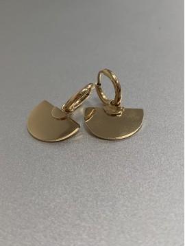 BO percées Acier - Demi cercles géométriques pendants sur anneaux