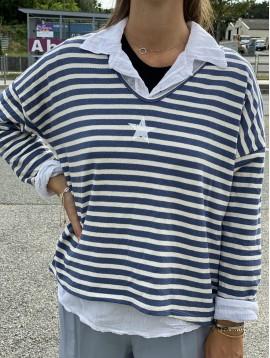Ensemble pull légé style marinière avec étoile et chemise fine
