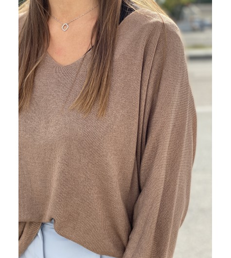 Pull tricot fin manches 3/4