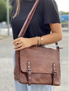 Grand sac porté travers style cartable avec rabat sur le devant