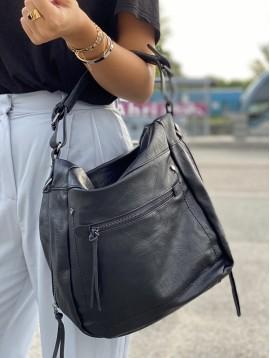 Sac porté épaule style besace avec détails pompons et zips