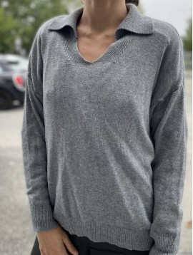 Pull en maille avec col polo