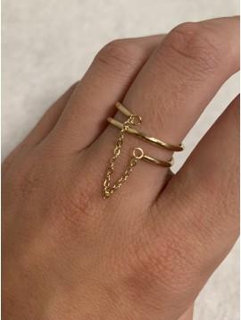 Bague Acier réglable - Double anneaux fins et pendentif chaine