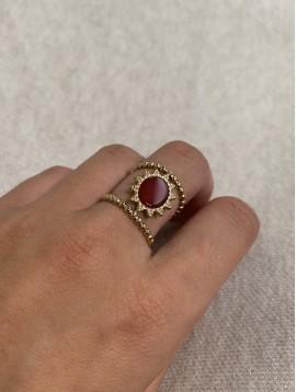 Bague Acier réglable - Chevalière pierre naturelle ornée sur anneaux