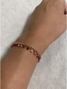 Bracelet Acier - Chaine avec pastilles colorées pendantes