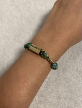 Bracelet Acier - Rang pierres naturelles avec hexagone gravé