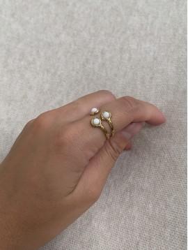 Bague Acier réglable - Trois perles sur anneaux ouverts