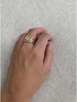 Bague Acier réglable - Flammes dorées en dégradé sur anneau
