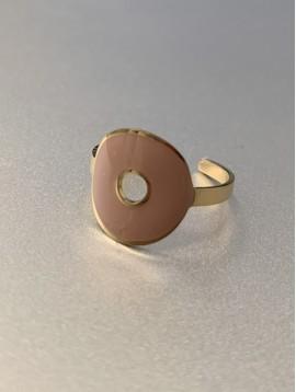 Bague Acier réglable - Cercle perforé en résine monté sur anneau