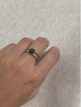 Bague Acier réglable - Pierre à facette ornée sur anneaux