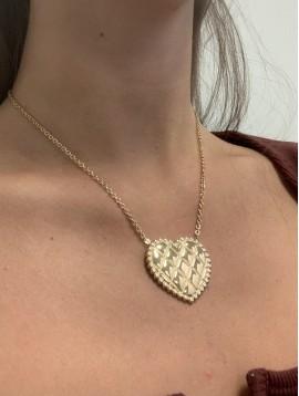 Collier Acier - Grand coeur orné gravé losange sur chaine fine