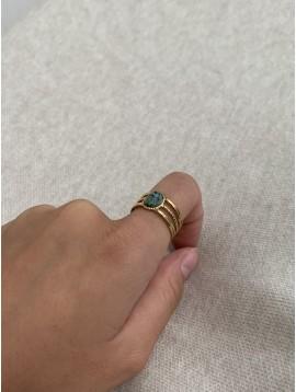 Bague Acier réglable - Ovale en résine coloré orné monté sur anneaux
