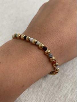 Bracelet Acier - Rang perles dorées et colorées