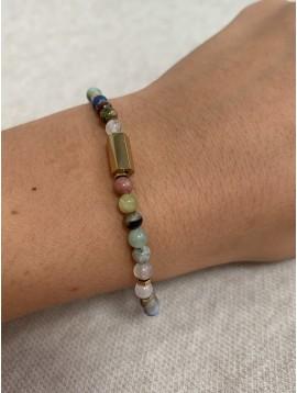 Bracelet Acier - Rang pierres naturelle avec pastilles dorées