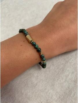 Bracelet Acier- Rang pierres naturelle avec hexagone doré et pastilles