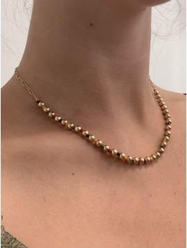 Collier Acier- Perles dorées et colorées sur chaine maillons ovales
