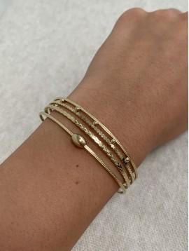Bracelet Acier - Jonc ouvert quatre rangs perlés, tréssés et lisses