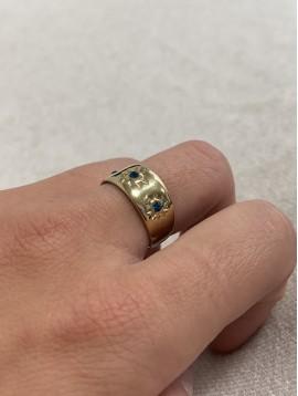 Bague Acier réglable - anneau épais gravé soleil et strass