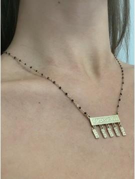 Collier Acier- Rectangle avec pampilles pendantes sur chaine et perles