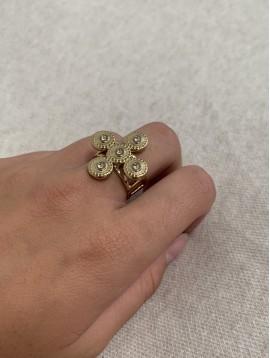 Bague Acier réglable - Chevalière croix ornée et strass sur anneau
