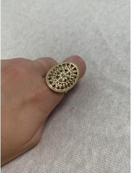 Bague Acier réglable - Chevalière ovale gravée fleur centre strass