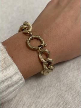 Bracelet Acier - Chaine gros maillons effet écailles de serpent