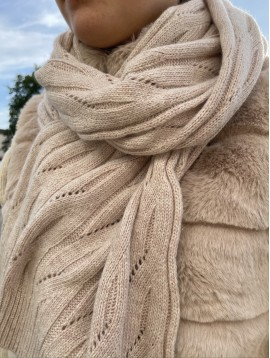 Echarpe en tricot unie laine avec reflets brillants