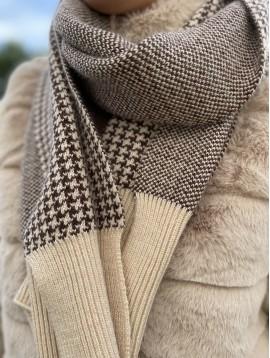 Echarpe en laine pieds de poule, bords tricot avec liseré brillant