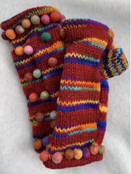Mitaines laine avec boules couleurs