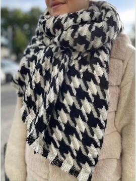 Echarpe épaisse en laine motif pieds de coq avec bords éfilés