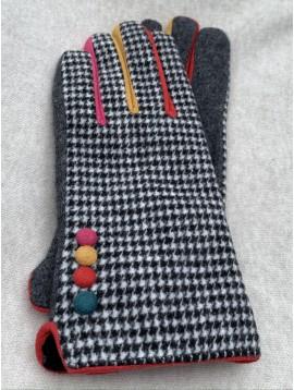 Gants tactile pieds de poule avec 4 boutons et entredoigts de couleurs