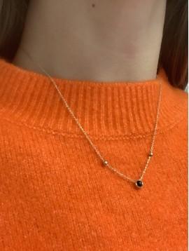 Collier Acier - Pendentifs perles colorée sur chaine fine