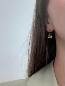 BO percées - Petits anneaux avec pendentifs pastille et perle colorée