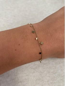 Bracelet Acier - Pendentifs petites étoiles sur chaine fine