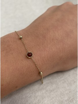 Bracelet Acier - Pendentifs perle colorée sur chaine fine